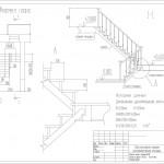лестничный узел деревянной лестницы по косоурам