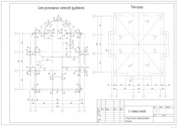 План свайных фундаментов, план крыши