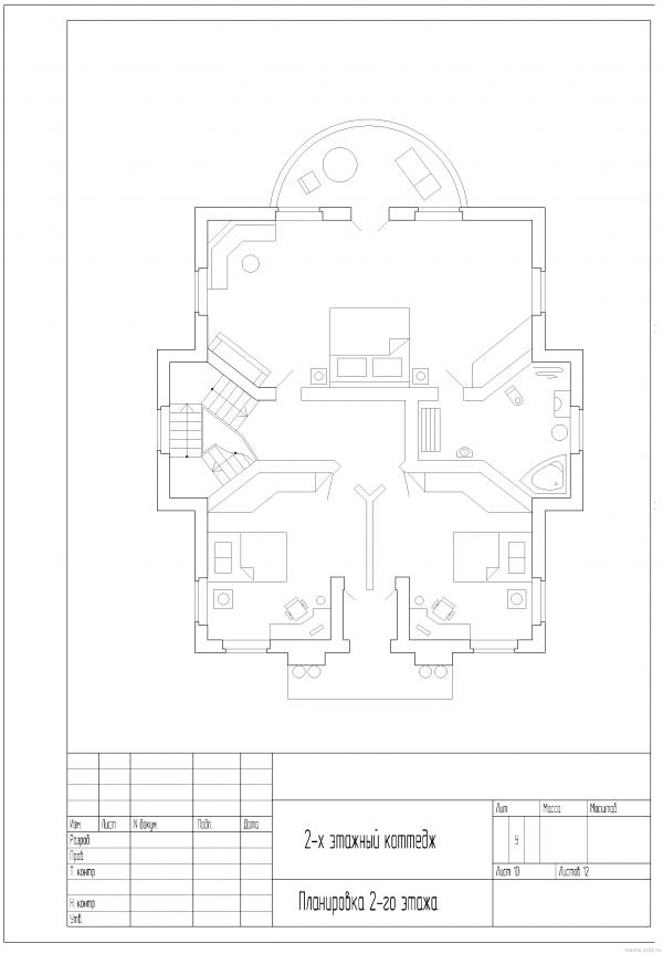 Планировка 2-го этажа коттеджа